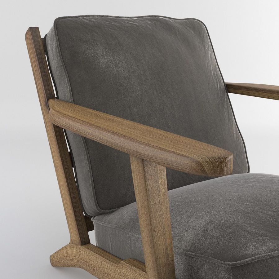 Brooks Lounge Chair (Arm chair) royalty-free 3d model - Preview no. 4