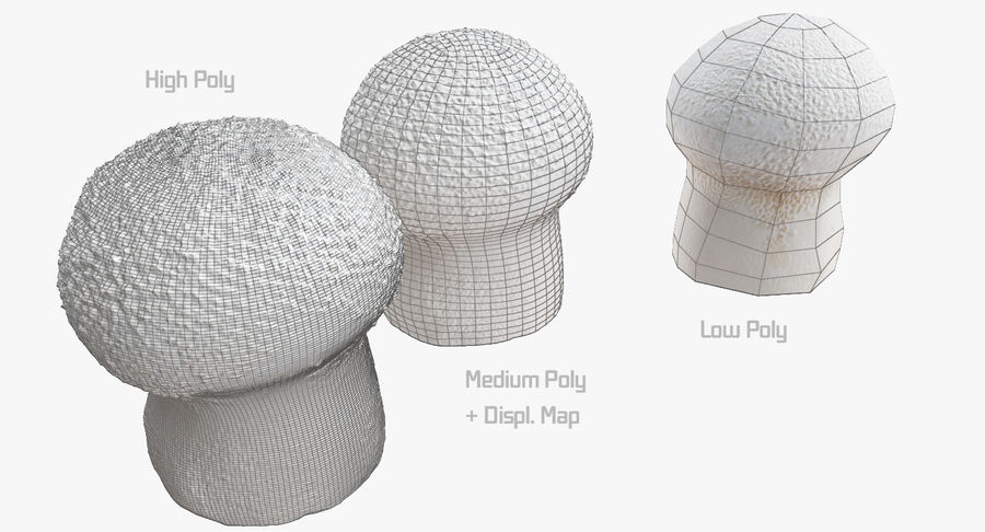 Champignon Puffball High et Low Poly (2) royalty-free 3d model - Preview no. 4