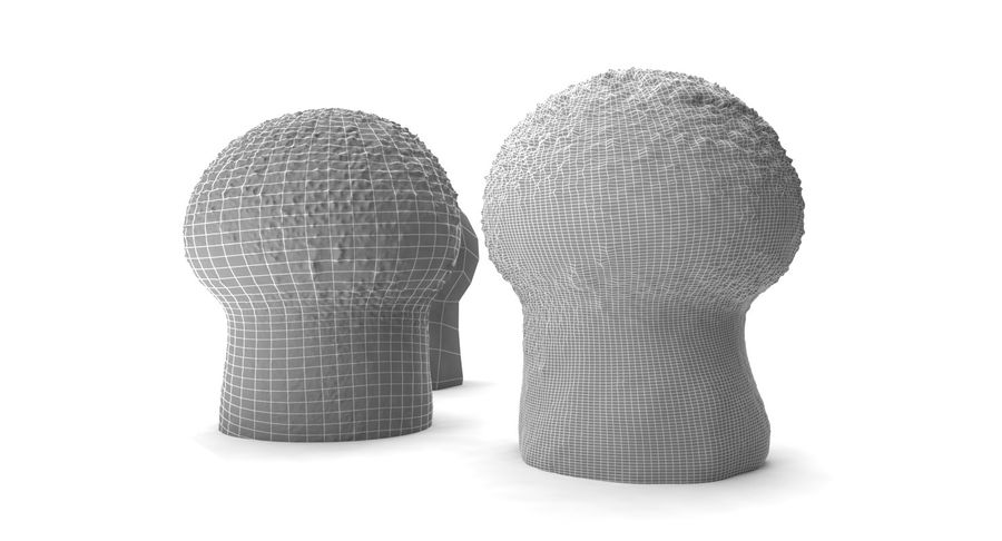 Champignon Puffball High et Low Poly (2) royalty-free 3d model - Preview no. 6