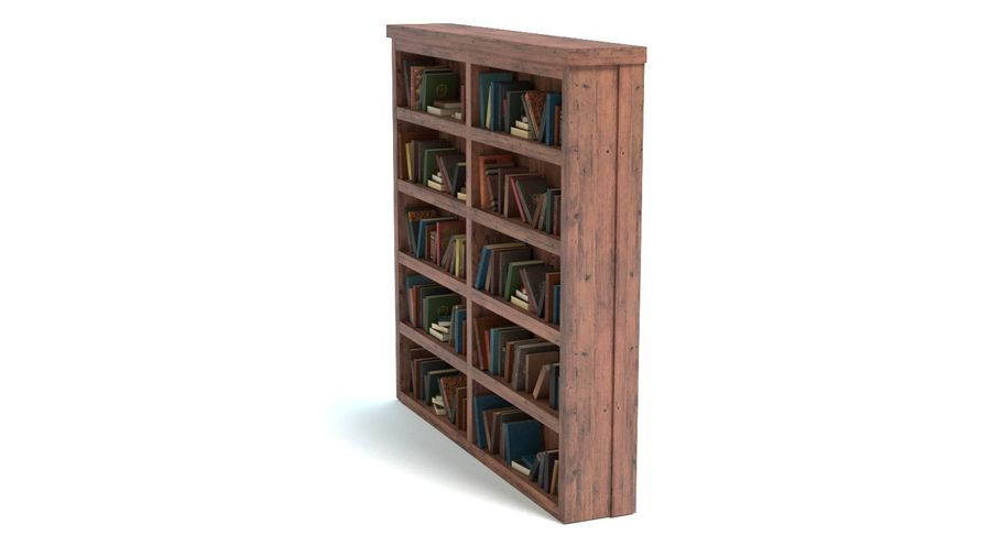 Old Bookshelf royalty-free 3d model - Preview no. 7