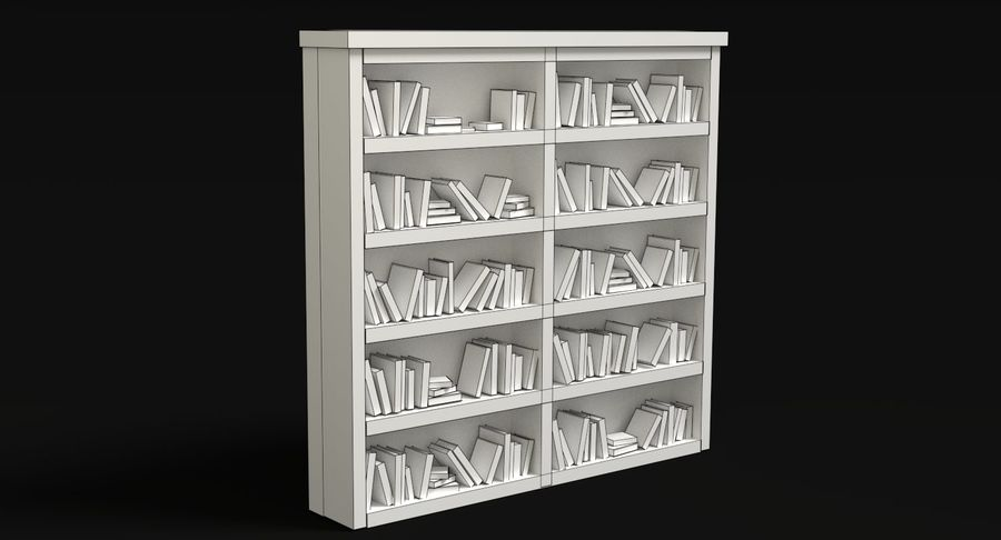 Old Bookshelf royalty-free 3d model - Preview no. 9