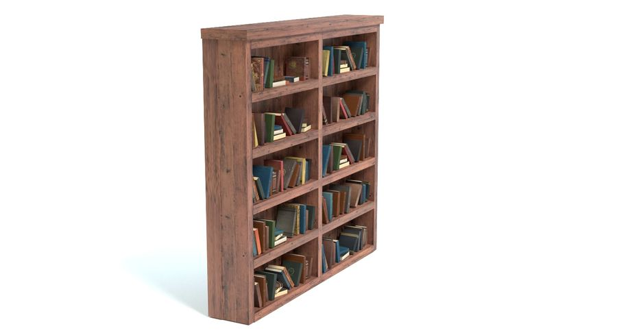 Old Bookshelf royalty-free 3d model - Preview no. 4