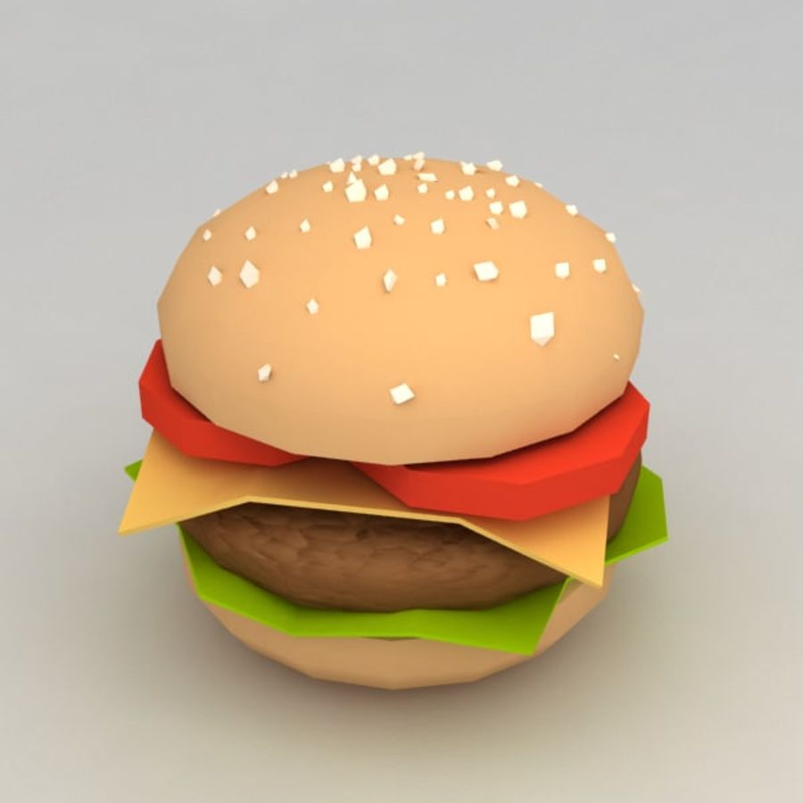 Hamburguesa baja en poli royalty-free modelo 3d - Preview no. 1