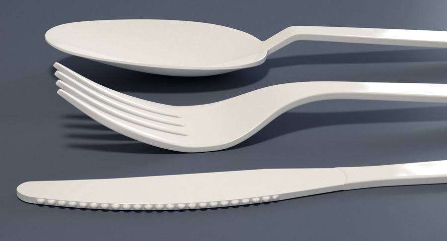 Plastic Cutlery royalty-free 3d model - Preview no. 4