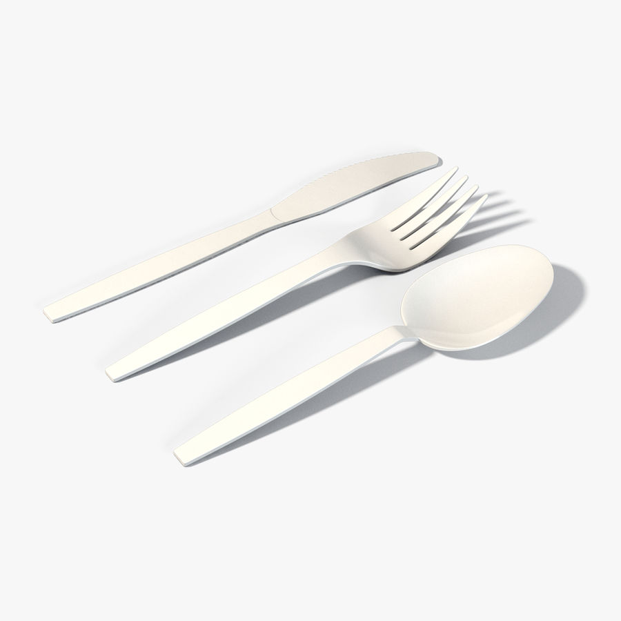 Plastic Cutlery royalty-free 3d model - Preview no. 1