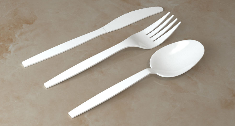 Plastic Cutlery royalty-free 3d model - Preview no. 3