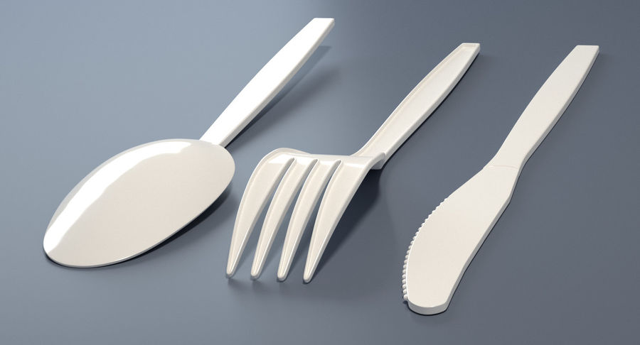 Plastic Cutlery royalty-free 3d model - Preview no. 5