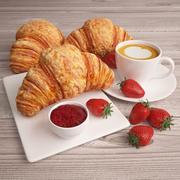 コーヒーとイチゴのクロワッサン 3d model