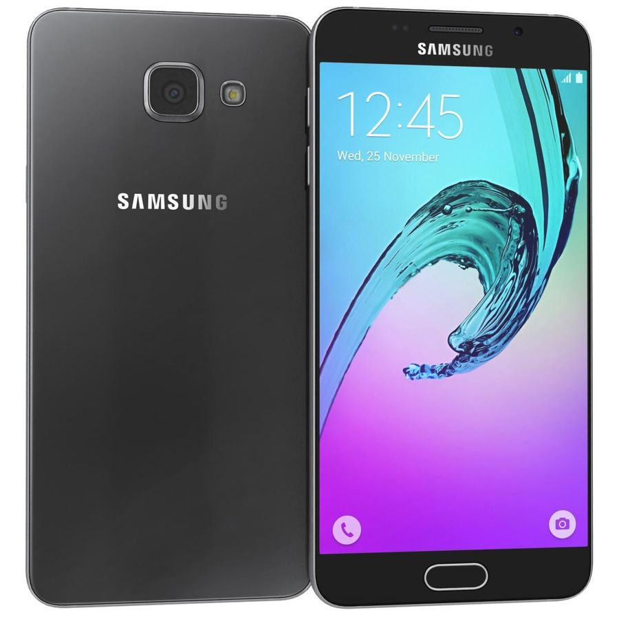 Samsung Galaxy A5 (2016) Svart royalty-free 3d model - Preview no. 1