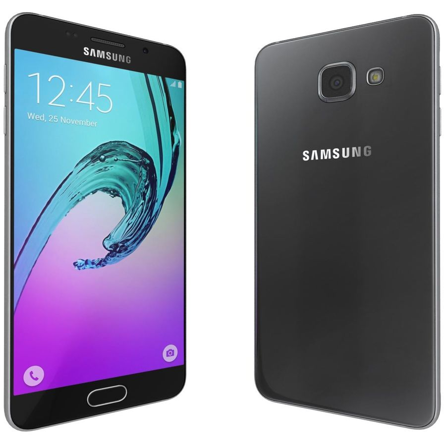 Samsung Galaxy A5 (2016) Svart royalty-free 3d model - Preview no. 3