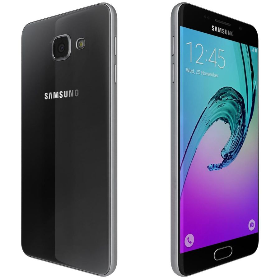 Samsung Galaxy A5 (2016) Svart royalty-free 3d model - Preview no. 5
