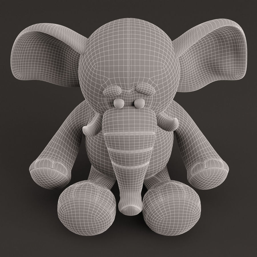 Plush Toy Elephant royalty-free 3d model - Preview no. 14