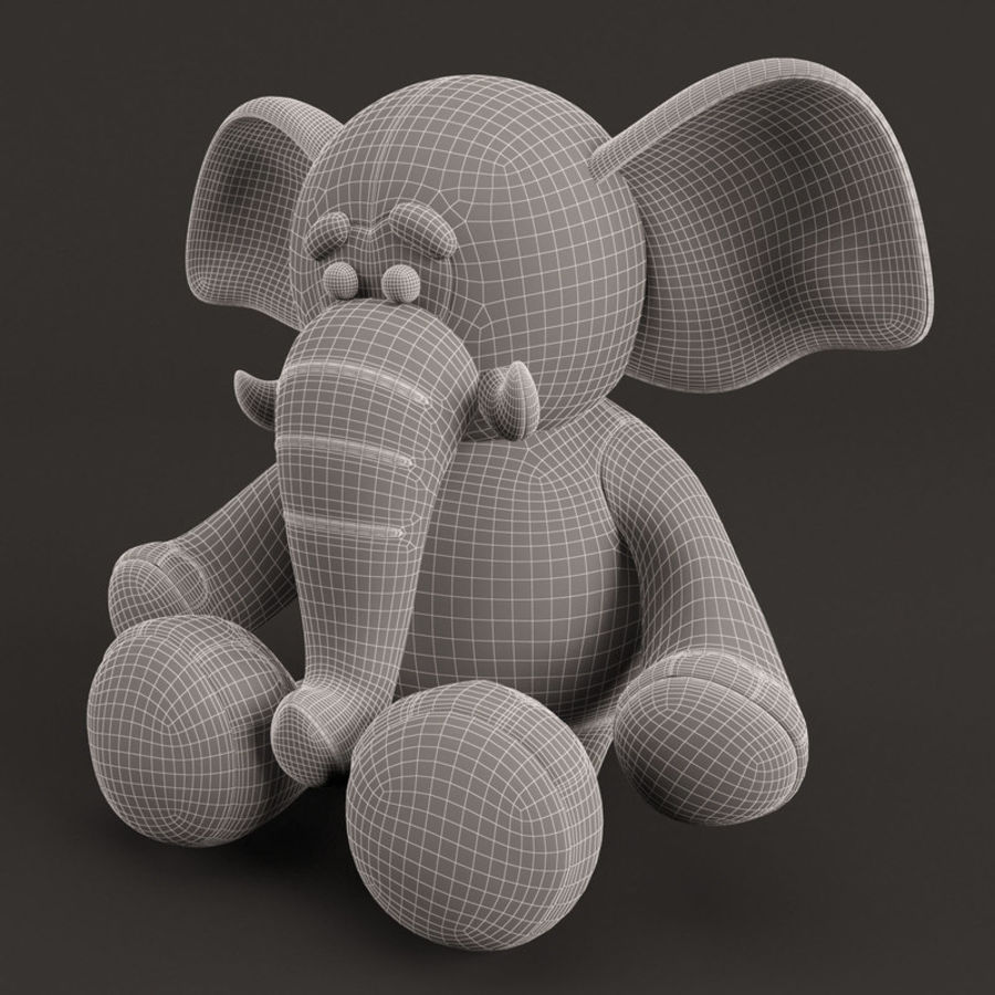 Plush Toy Elephant royalty-free 3d model - Preview no. 10