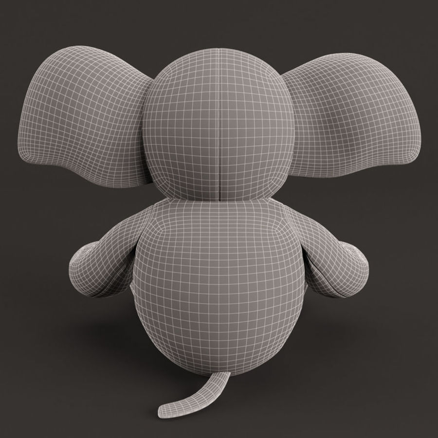 Plush Toy Elephant royalty-free 3d model - Preview no. 12