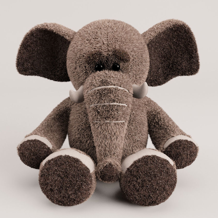 Plush Toy Elephant royalty-free 3d model - Preview no. 2