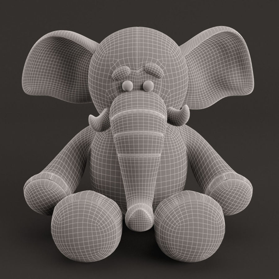 Plush Toy Elephant royalty-free 3d model - Preview no. 4