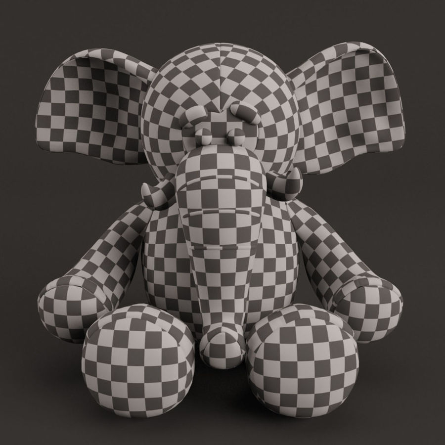 Plush Toy Elephant royalty-free 3d model - Preview no. 5