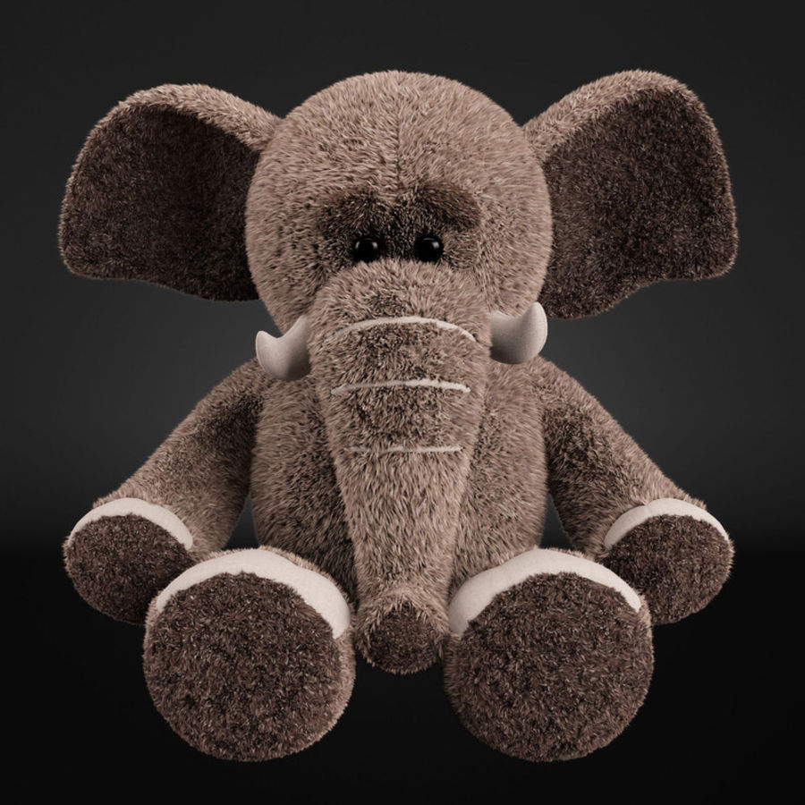 Plush Toy Elephant royalty-free 3d model - Preview no. 3