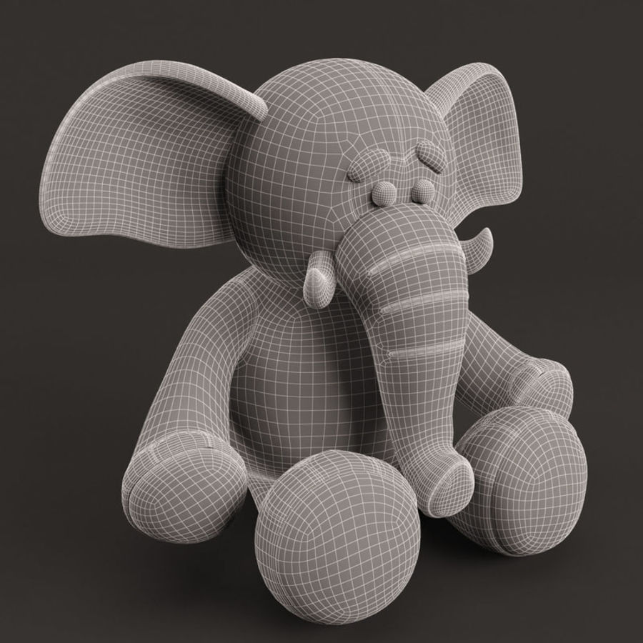 Plush Toy Elephant royalty-free 3d model - Preview no. 8
