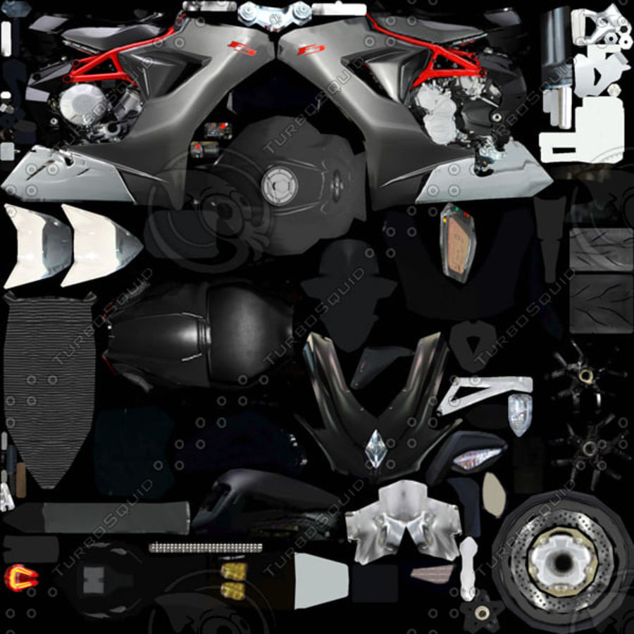 MV Agusta F3 2012 royalty-free 3d model - Preview no. 9