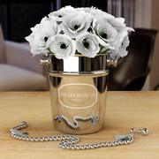 Bouquet of White Poppies in  Bucket 3d model