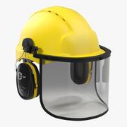 Casque de sécurité 2 jaune 3d model