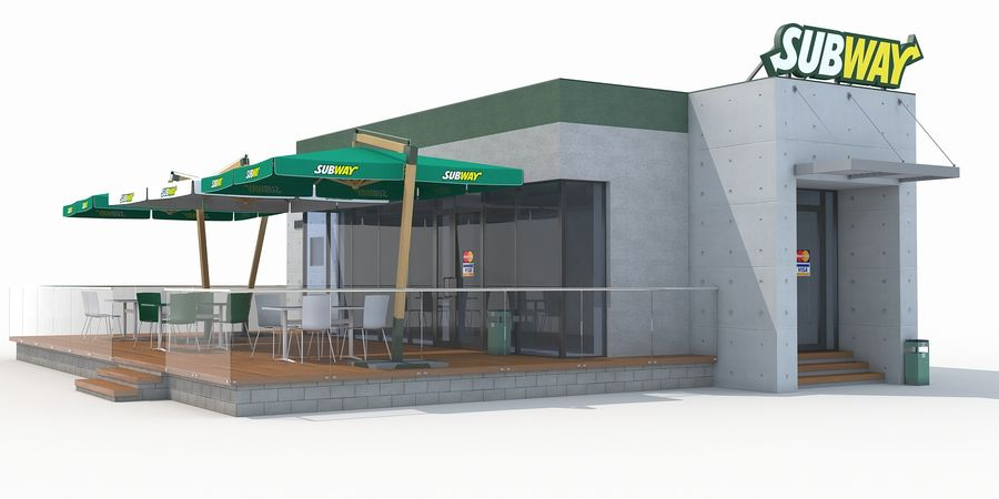 Subway restaurant royalty-free 3d model - Preview no. 1