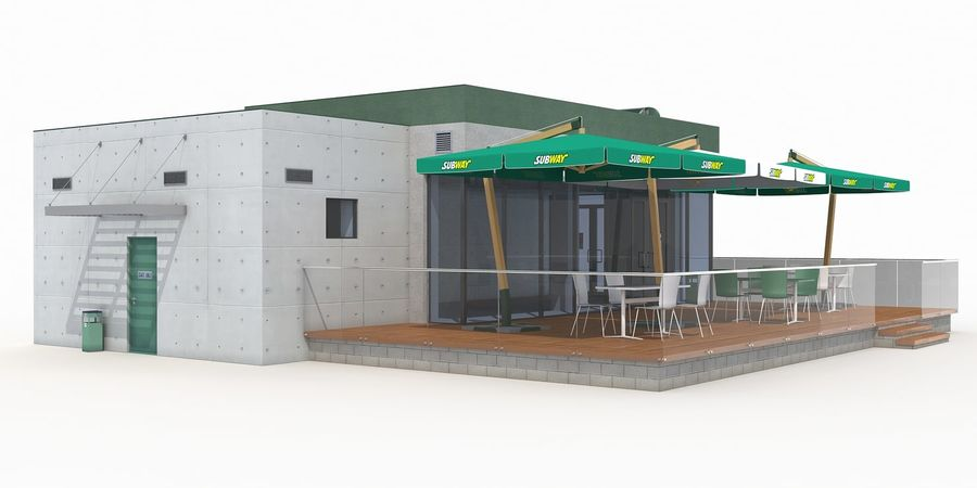 Subway restaurant royalty-free 3d model - Preview no. 2