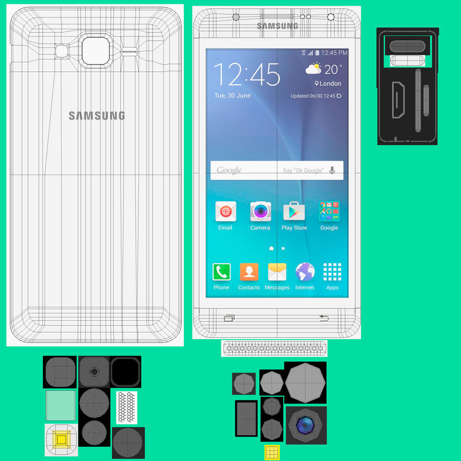 Samsung Galaxy J7 royalty-free 3d model - Preview no. 3