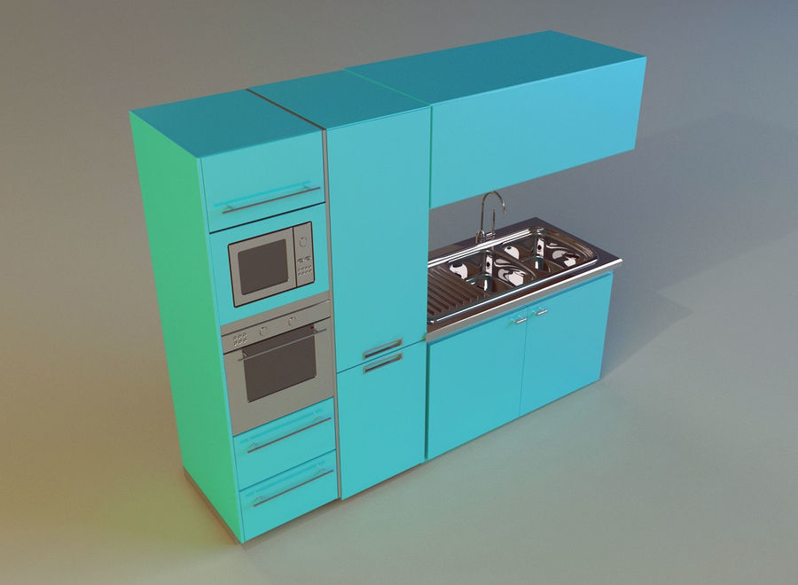 Kitchen 3 royalty-free 3d model - Preview no. 6