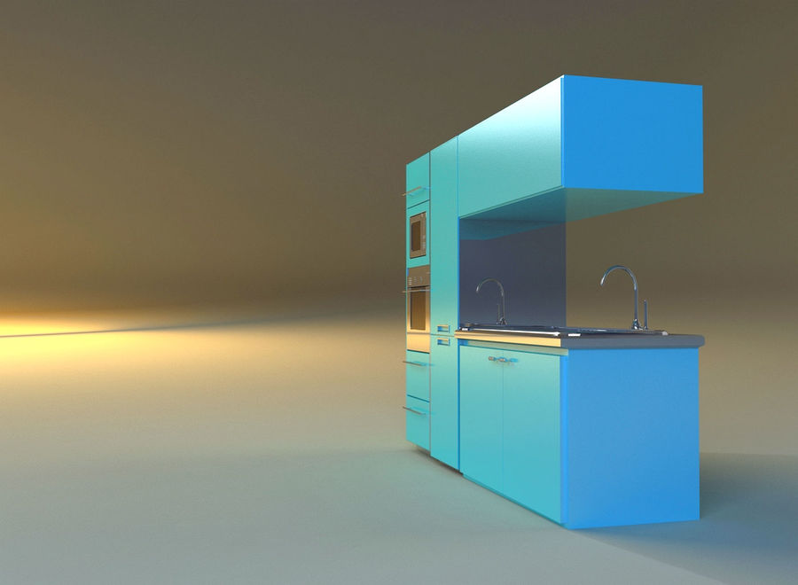 Kitchen 3 royalty-free 3d model - Preview no. 4