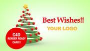 Christmas tree Card 3d model
