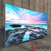 Samsung 3D Led TV 4k SUHD 88 JS9500 9-serien böjd Corona Render 3d model