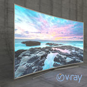Samsung 3D Led TV 4k SUHD 88 JS9500 9-serie böjd VRay 3d model