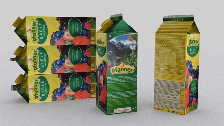Pfanner Fruit Juice Box 1 royalty-free 3d model - Preview no. 3