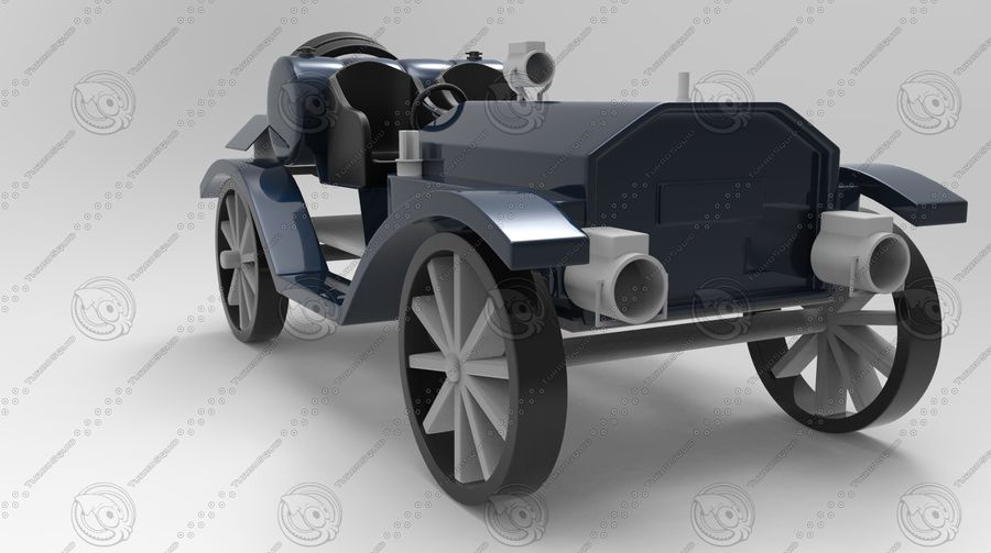 staromodny samochód royalty-free 3d model - Preview no. 2
