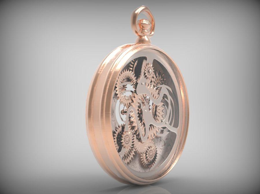 metallic pocket watch royalty-free 3d model - Preview no. 4