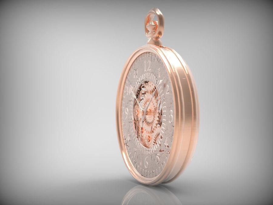 metallic pocket watch royalty-free 3d model - Preview no. 2