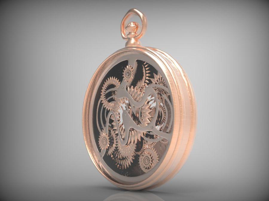 metallic pocket watch royalty-free 3d model - Preview no. 6