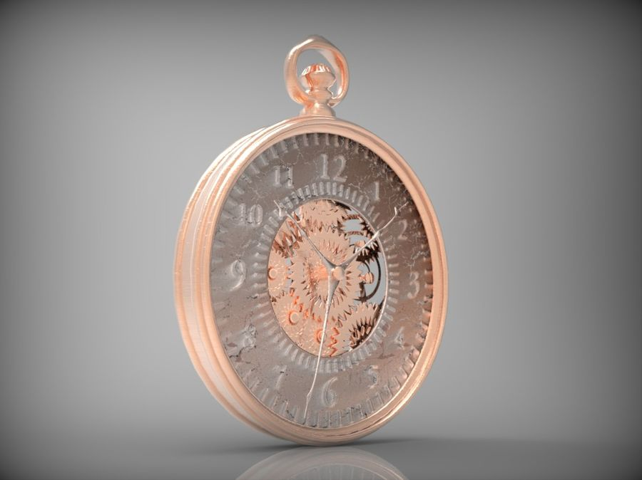 metallic pocket watch royalty-free 3d model - Preview no. 8