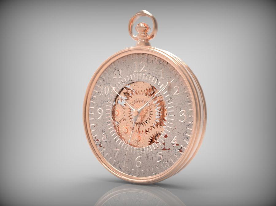 metallic pocket watch royalty-free 3d model - Preview no. 1