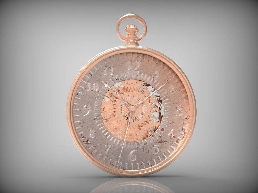 metallic pocket watch royalty-free 3d model - Preview no. 9