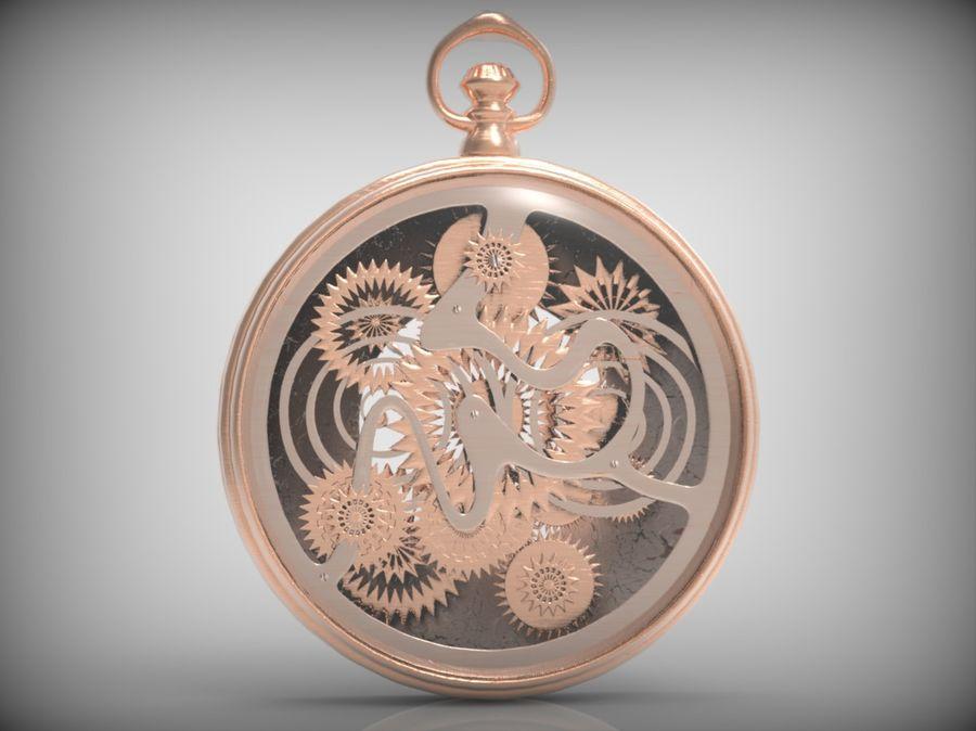 metallic pocket watch royalty-free 3d model - Preview no. 5