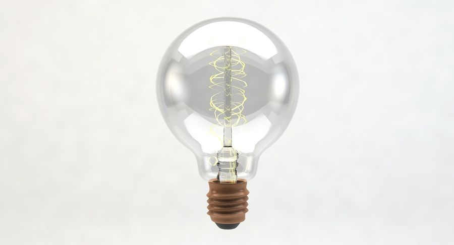 Lampadina vintage G80 royalty-free 3d model - Preview no. 4