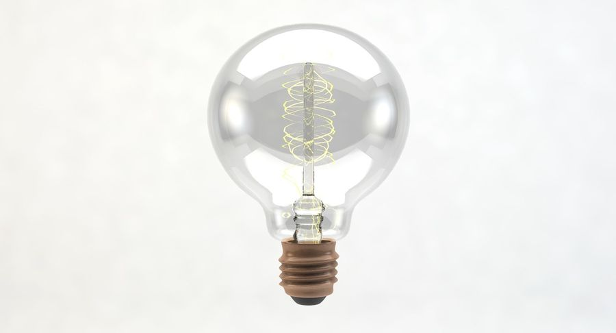 Lampadina vintage G80 royalty-free 3d model - Preview no. 5