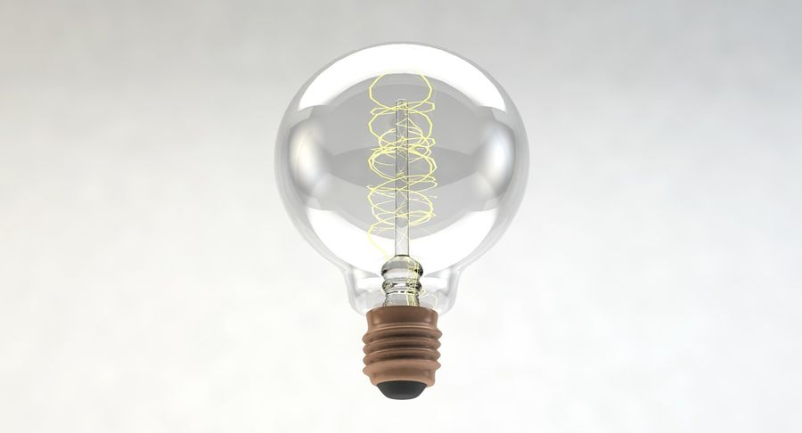 Lampadina vintage G80 royalty-free 3d model - Preview no. 6
