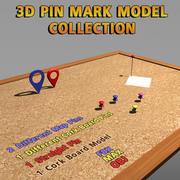 3D модель булавки с пробковой доской 3d model