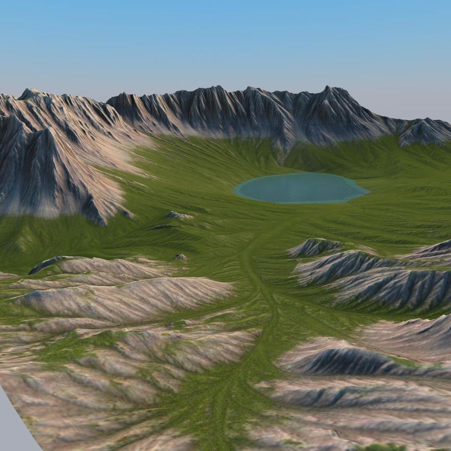 Berglandschaft royalty-free 3d model - Preview no. 15