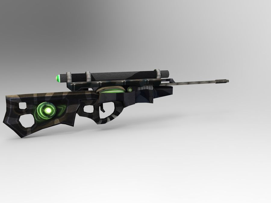 arma moderna royalty-free modelo 3d - Preview no. 3