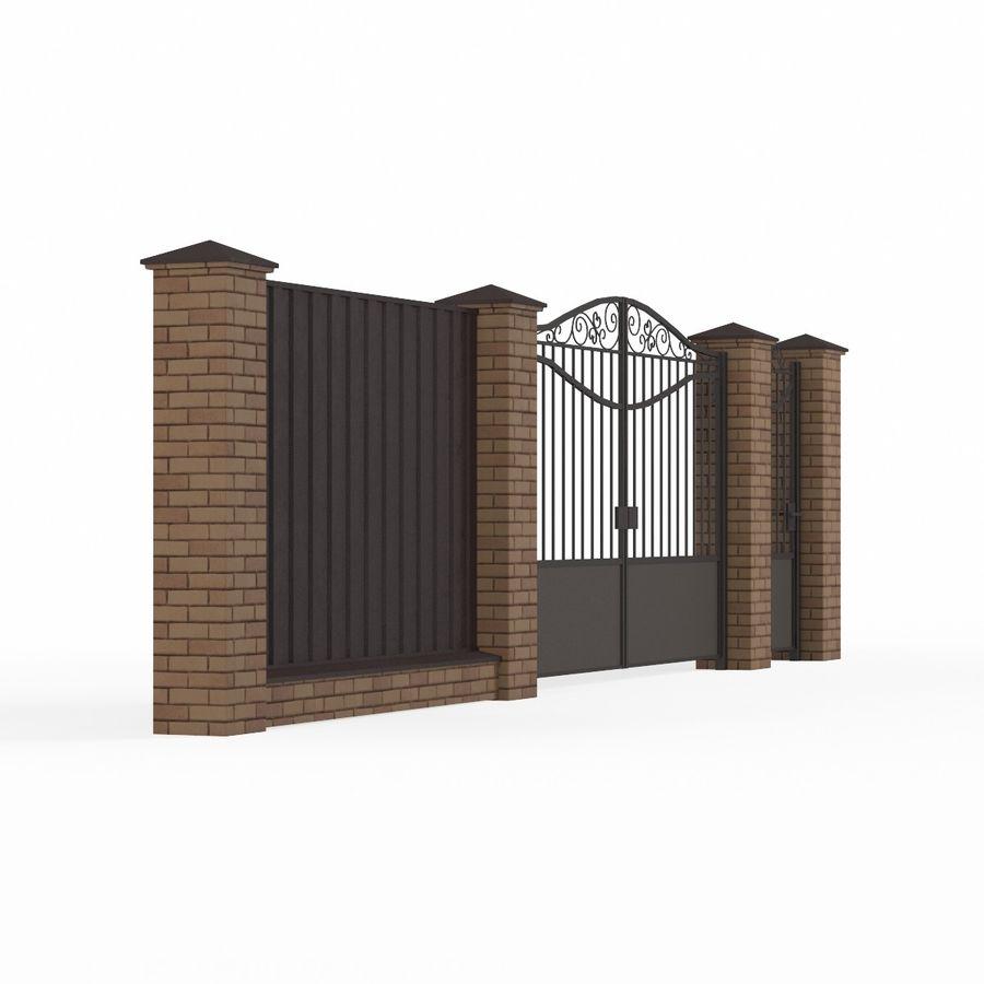Portão de ferro forjado e cerca 03 royalty-free 3d model - Preview no. 6